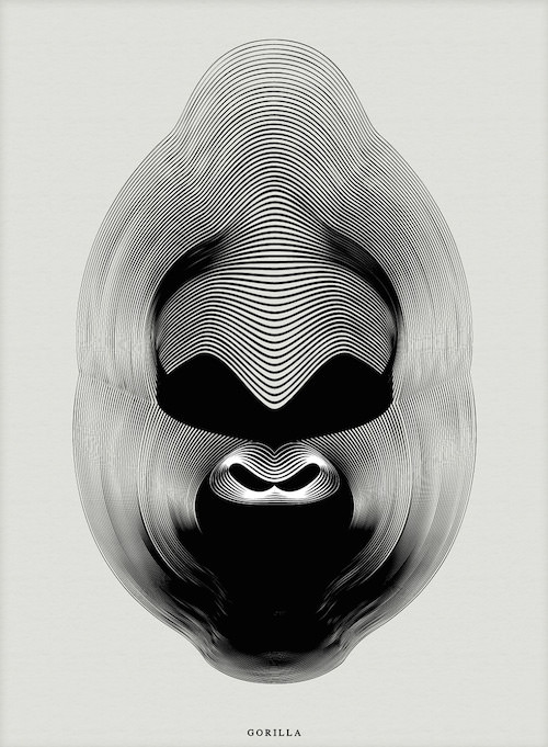 [平面设计]几何线条动物图腾-猩猩