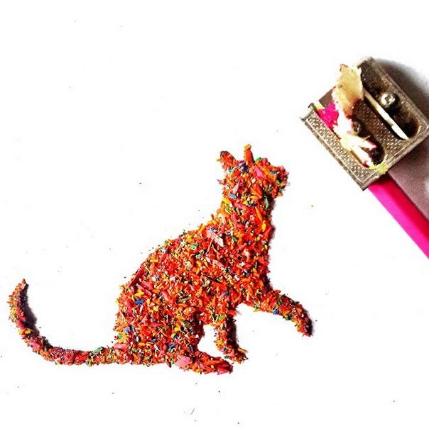 [平面设计]铅笔屑作动物绘画