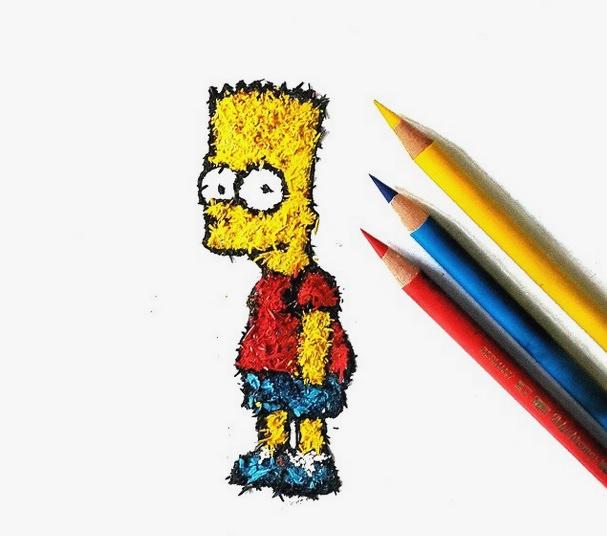 [平面设计]色铅笔屑艺术绘画