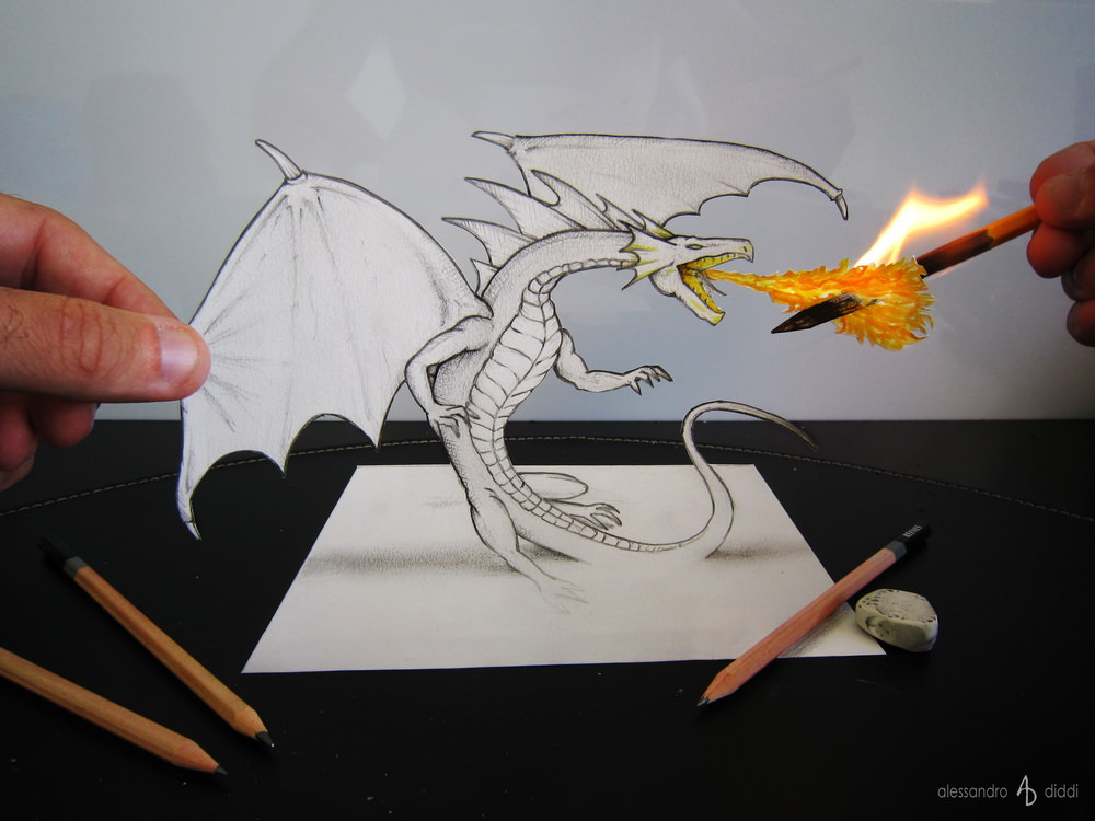 [平面设计]逼真素描3d立体画艺术